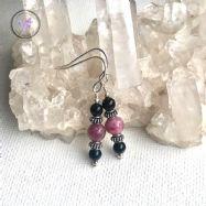 Pink & Black Tourmaline Silver Earrings